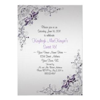 Ornate Purple Silver Swirls on Silver Sweet 16 Custom Announcements