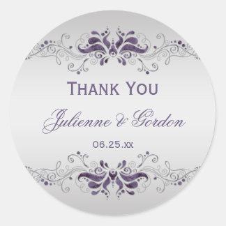Ornate Purple Silver Swirls Round Wedding Favor Classic Round Sticker