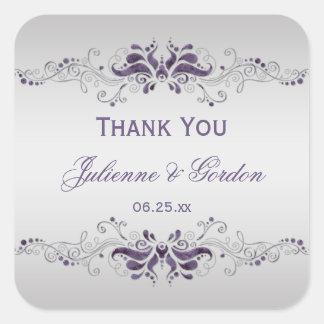 Ornate Purple Silver Swirls Square Wedding Favor Square Sticker