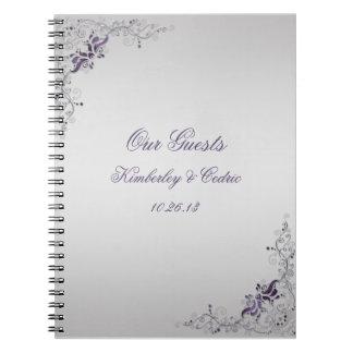 Ornate Purple Swirls Guest Book Note Book
