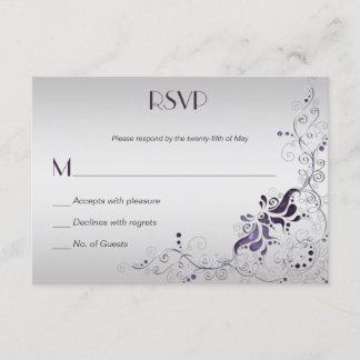 Ornate Purple Swirls on Silver RSVP