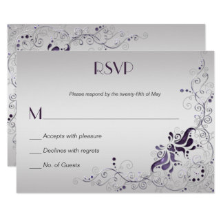 Ornate Purple Swirls on Silver RSVP Card