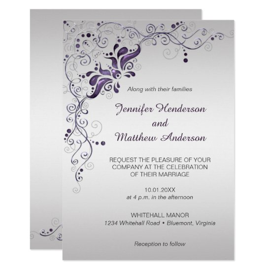 Ornate Purple Swirls on Silver Wedding Invitation