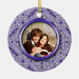 Ornate Purple Tanzanite Silver Photo Christmas Double-Sided Ceramic Round Christmas Ornament