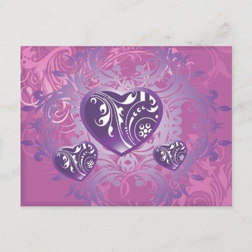 Ornate Purple Valentine Love Hearts Holiday Postcard