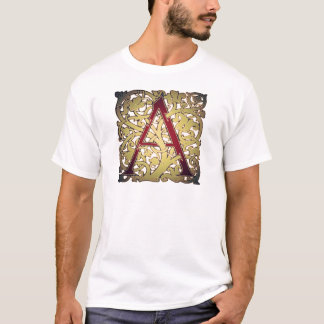 Ornate Red and Gold Initial A T-Shirt