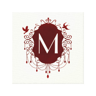 Ornate Red and Ivory Bird Chandelier Monogram Canvas Print