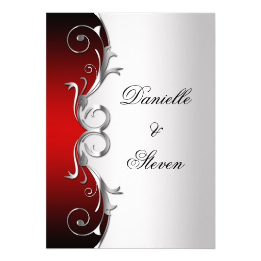 Red And Silver Wedding Invitations: Ornate Red Black Silver Post Wedding Celebration 5x7 Paper