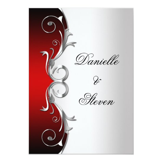 Ornate Red Black Silver Post Wedding Celebration Invitation