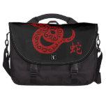 Ornate Red Chinese Snake Laptop Messenger Bag