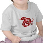Ornate Red Chinese Snake T-shirts