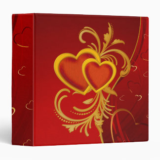 Ornate Red Hearts 3 Ring Binder