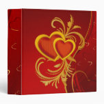 Ornate Red Hearts 3 Ring Binders
