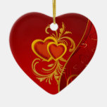 Ornate Red Hearts Christmas Tree Ornament