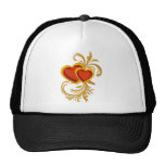 Ornate Red Hearts Mesh Hat