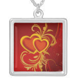 Ornate Red Hearts Necklace