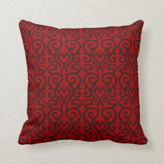Ornate red oil throw pillow