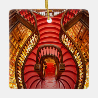 Ornate red stairway, Portugal Ceramic Ornament