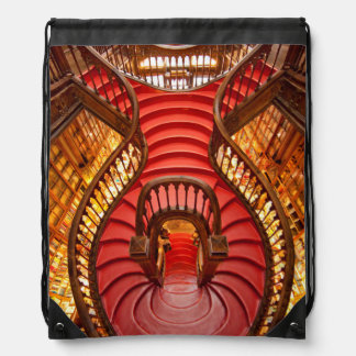Ornate red stairway, Portugal Drawstring Bag