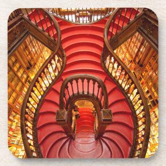 Ornate red stairway, Portugal Drink Coaster