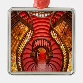 Ornate red stairway, Portugal Metal Ornament