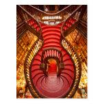 Ornate red stairway, Portugal Postcard