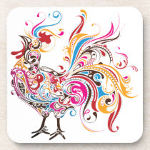Ornate Rooster Beverage Coaster