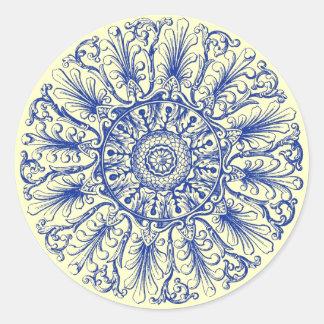Ornate Rosette Victorian Design A Blue Sticker