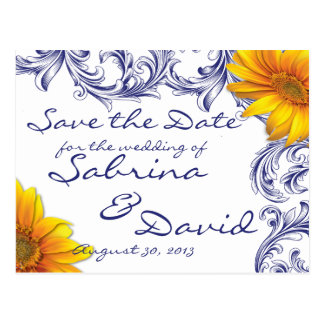 Ornate Royal Blue Yellow Sunflower Save the Date Post Cards