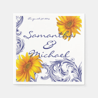 Ornate Royal Blue Yellow Sunflowers Paper Napkin
