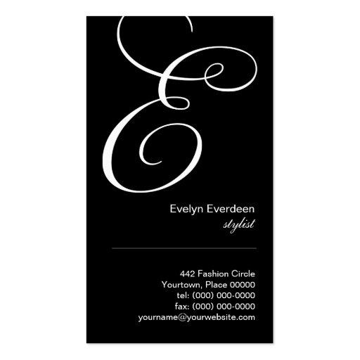Ornate Script Monogram E Business Card
