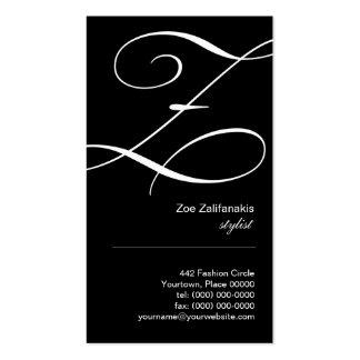 Ornate Script Monogram Z Business Card