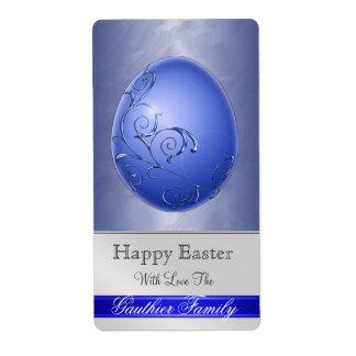 Ornate Scroll Easter Egg Blue Baking Label Shipping Label