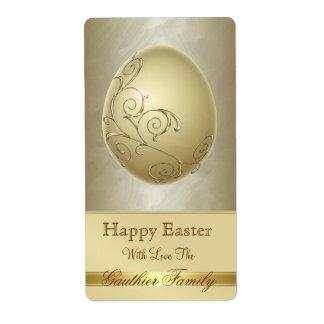 Ornate Scroll Easter Egg Gold Baking Label Shipping Label