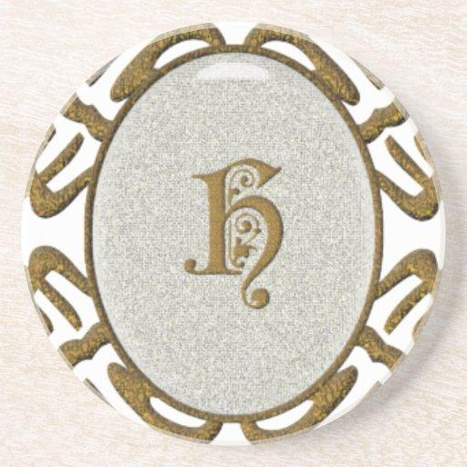 Ornate Scroll Monogram Letter H Coaster