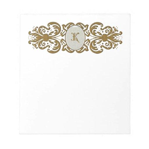 Ornate Scroll Monogram Letter K Scratch Pad