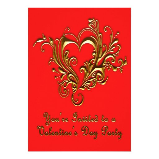 Ornate Scrolled Heart Metallic Gold on Bright Red Personalized Invite