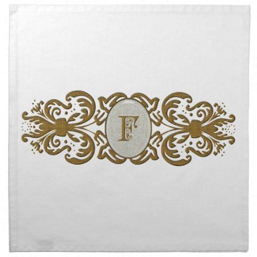 Ornate Scrolled Monogram Letter F Printed Napkin