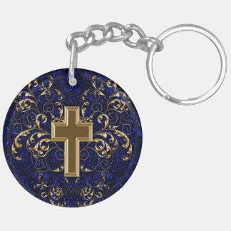 Ornate Scrolls & Cross Keychain, Drk Blue & Gold