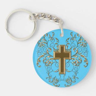 Ornate Scrolls & Cross Keychain, Light Blue & Gold