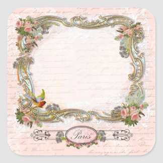Ornate Scrolls French Writing Pink Roses Square Sticker