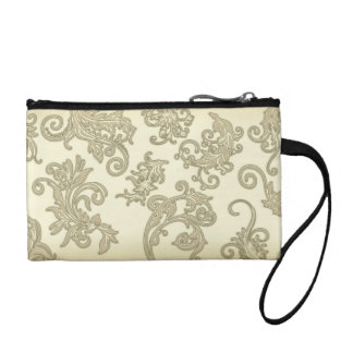 Ornate Sepia Leaves Coin Wallet
