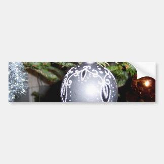 Ornate Silver Christmas Bulb Car Bumper Sticker