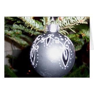 Ornate Silver Christmas Bulb Greeting Card