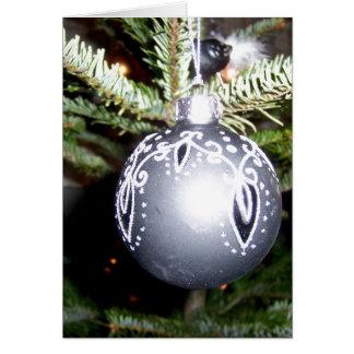 Ornate Silver Christmas Bulb Cards