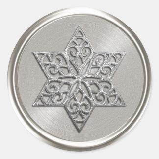 Ornate Silver Star of David Envelope Seal Classic Round Sticker