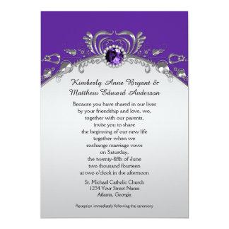 Ornate Silver Swirls Purple Gemstones Diamonds 5x7 Paper Invitation Card