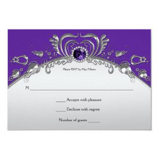 Ornate Silver Swirls Purple Gemstones RSVP 3.5x5 Paper Invitation Card