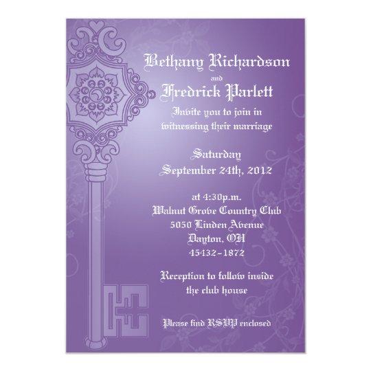 Ornate Skeleten Key Wedding Invitation - Purple