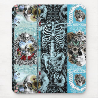 Ornate skull collage mouse pad